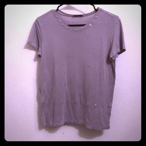Zara beige t shirt with silver studs Size Small